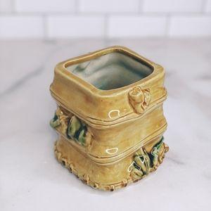 Other - Vintage bamboo planter vase brush holder